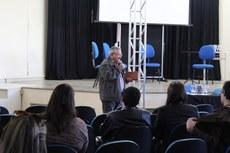 Pastor Valdir no auditório do Câmpus Apucarana - Período de Planejamento e Capacitação