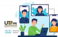 Imagem identidade visual - parceria UTFPR e NetAcad - Divulgação Cursos de TI